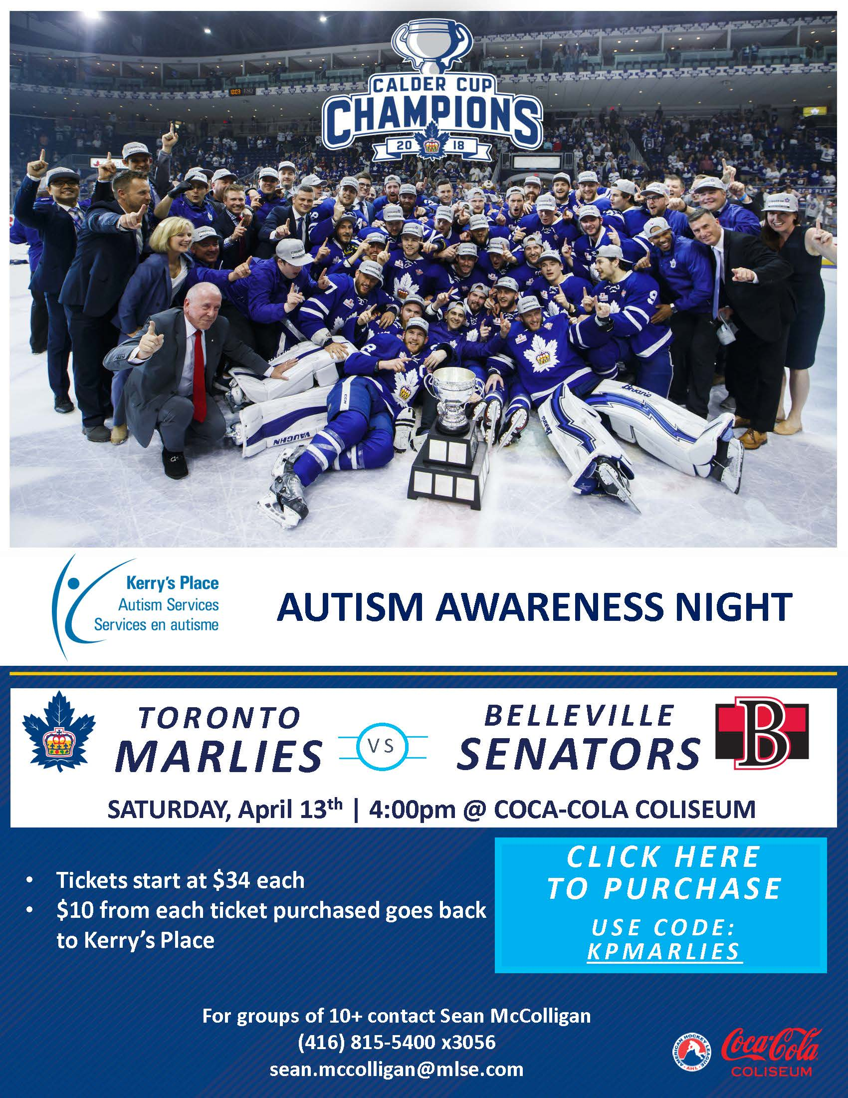 d18fbe5ea6b Kerry's Place Autism Services has teamed up with the Toronto Marlies for an Autism  Awareness Night! – Kerry's Place